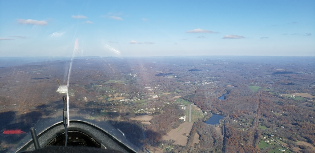 Blairstown Airport and withering clouds ahead.